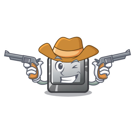 Cowboy button I on a keyboard mascot