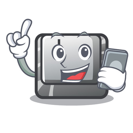 With phone button I on a keyboard mascot vector illustration