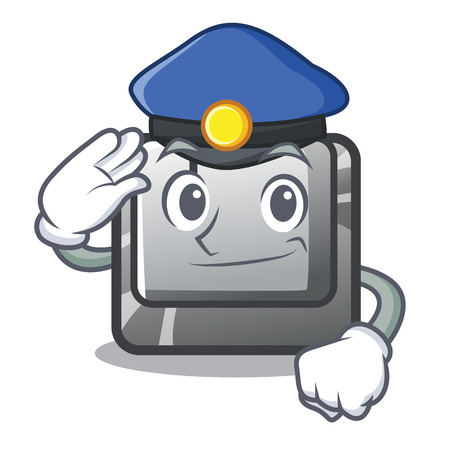 Police button I on a keyboard mascot vector illustration