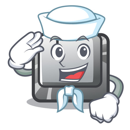 Sailor button I on a keyboard mascot vector illustration