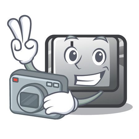 Photographer button I in the cartoon game Illustration