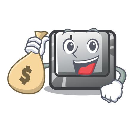 With money bag button J installed on cartoon computer vector illustration Иллюстрация