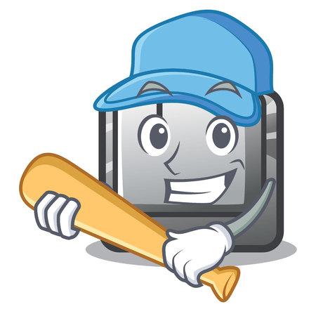 Playing baseball button J installed on cartoon computer vector illustration Illusztráció