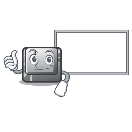 Thumbs up with board button J installed on cartoon computer vector illustration Stock fotó - 123586438