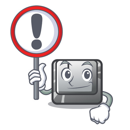 With sign button J installed on cartoon computer vector illustration