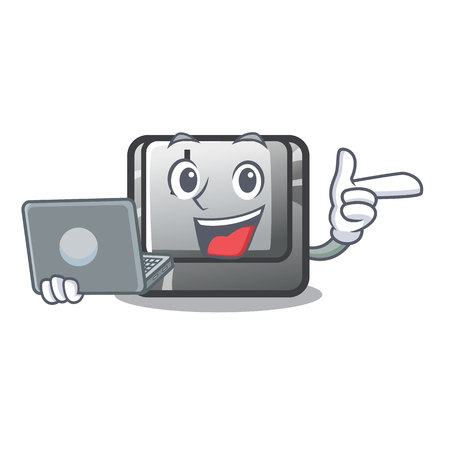 With laptop button J installed on cartoon computer vector illustration
