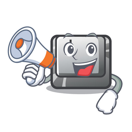 With megaphone button J installed on cartoon computer vector illustration