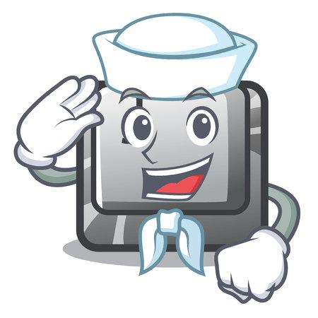 Sailor button J installed on cartoon computer vector illustration