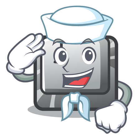 Sailor button J installed on cartoon computer vector illustration Stock fotó - 123586448