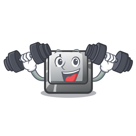Fitness button J installed on cartoon computer vector illustration Иллюстрация