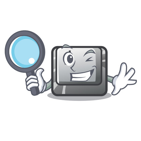 Detective button J isolated in the cartoon