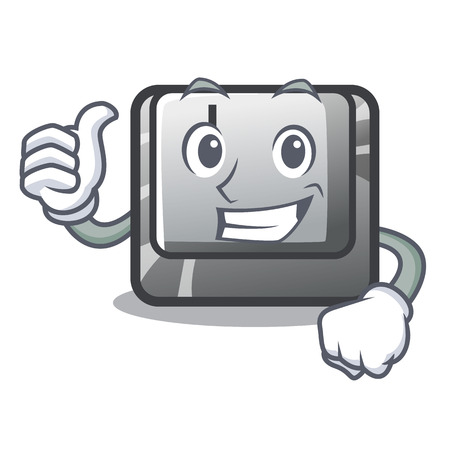 Thumbs up button J isolated in the cartoon vector illustration