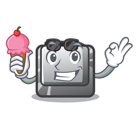 With ice cream button J isolated in the cartoon vector illustration Illusztráció