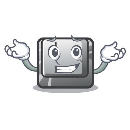 Grinning button J isolated in the cartoon vector illustration Illusztráció