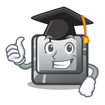Graduation button J isolated in the cartoon vector illustration Stock fotó - 123586463