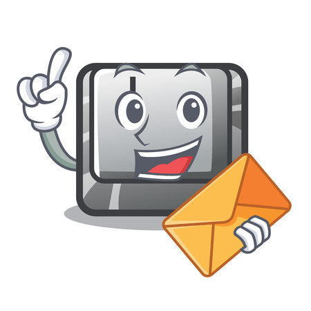 With envelope button J isolated in the cartoon vector illustration