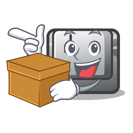 With box button J isolated in the cartoon vector illustration