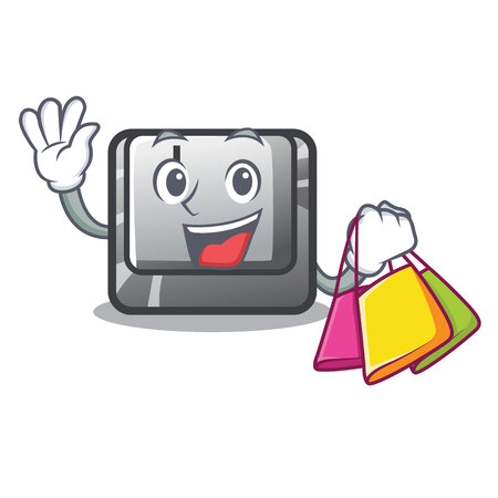 Shopping button J isolated in the cartoon vector illustration