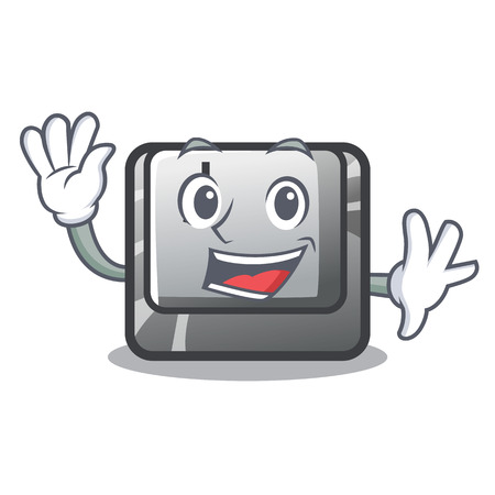 Waving button J isolated in the cartoon vector illustration Illusztráció