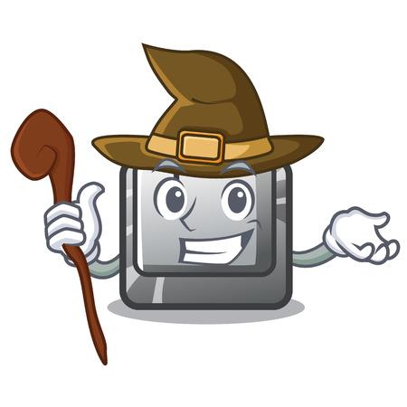 Witch button J on a computer character Illusztráció