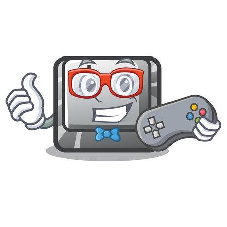 Gamer button J on a computer character vector illustration Illusztráció