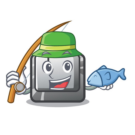 Fishing button J on a computer character vector illustration