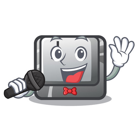 Singing button J on a computer character vector illustration