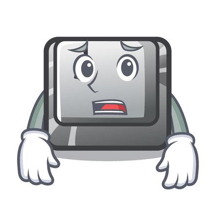 Afraid button J on a computer character vector illustration Illusztráció