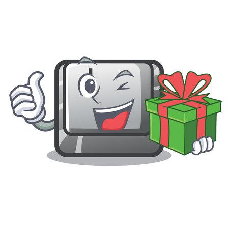 With gift button J on a computer character vector illustration Illusztráció