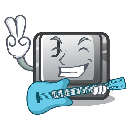 With guitar button J on a computer character