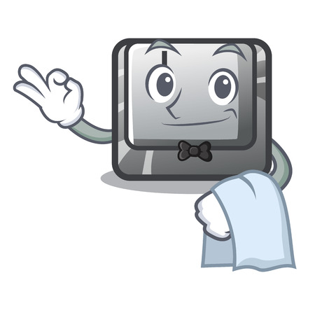 Waiter button J on a computer character vector illustration 矢量图像