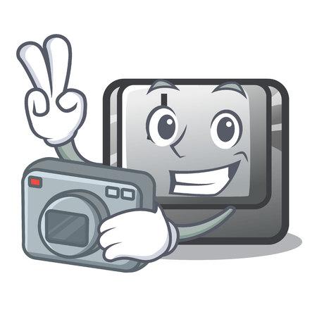 Photographer button J on a computer character vector illustration Illusztráció