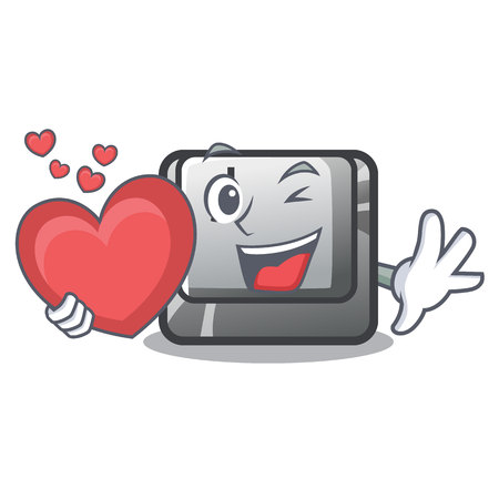 With heart button J on a computer character