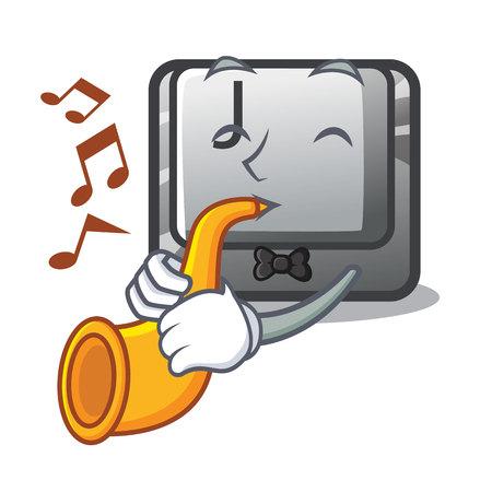 With trumpet button J on a computer character vector illustration Illusztráció