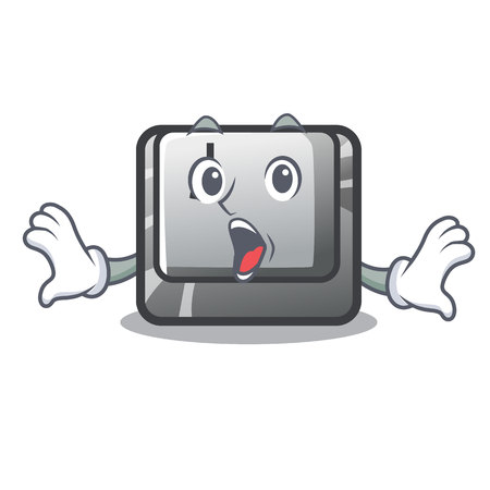 Surprised button J on a computer character vector illustration
