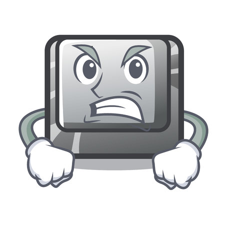 Angry button J on a computer character vector illustration