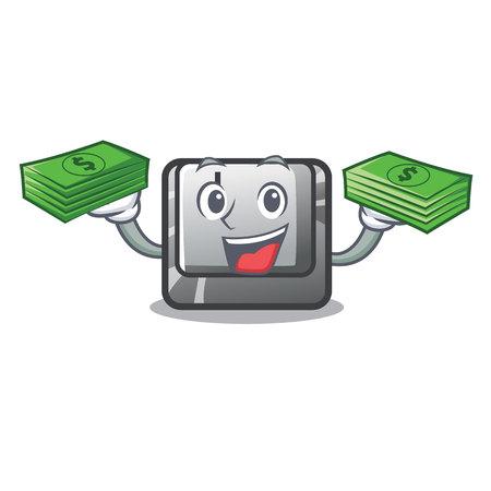 With money bag button J on a computer character vector illustration Illusztráció