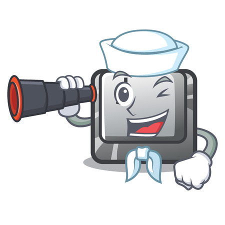 Sailor with binocular button J on a computer character vector illustration