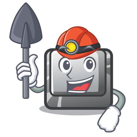 Miner button J on a computer character vector illustration Illusztráció