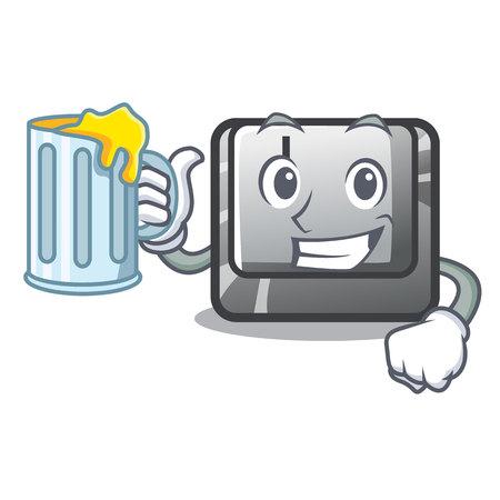 With juice button J on a computer character vector illustration Illusztráció