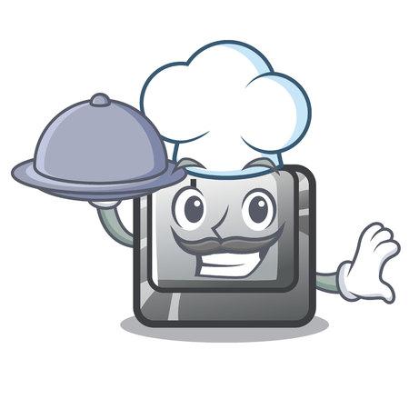 Chef with food button J on a computer character vector illustration Illusztráció