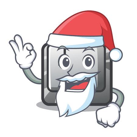 Santa button J in the mascot shape vector illustration