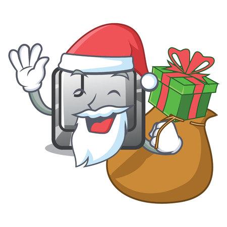 Santa with gift button J in the mascot shape vector illustration Illusztráció