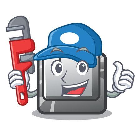Plumber button J in the mascot shape vector illustration