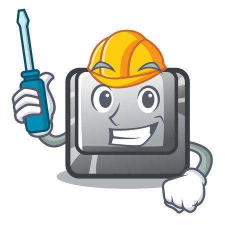 Automotive button J in the mascot shape vector illustration Illusztráció