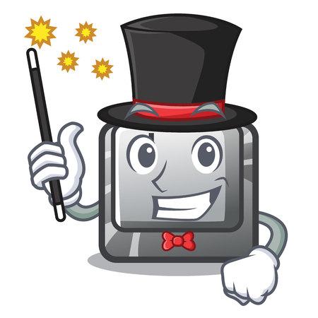 Magician button J in the mascot shape vector illustration Illusztráció