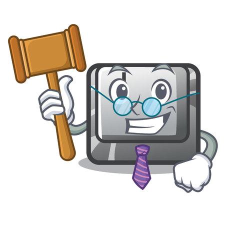 Judge button J in the mascot shape vector illustration Illusztráció