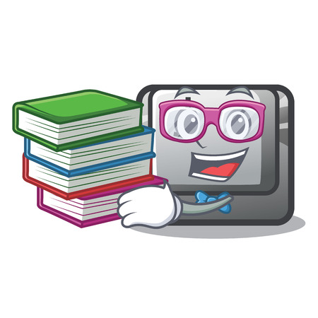 Student with book button J in the mascot shape vector illustration