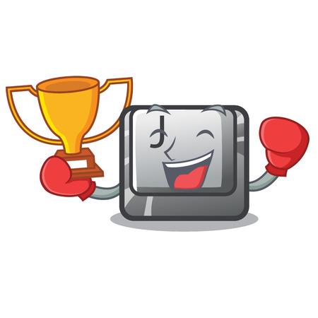 Boxing winner button J in the mascot shape vector illustration