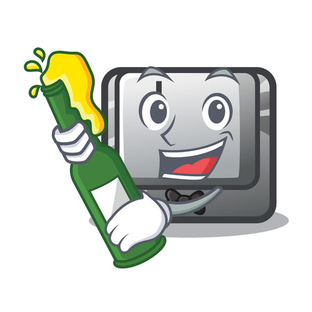 With beer button J in the mascot shape vector illustration
